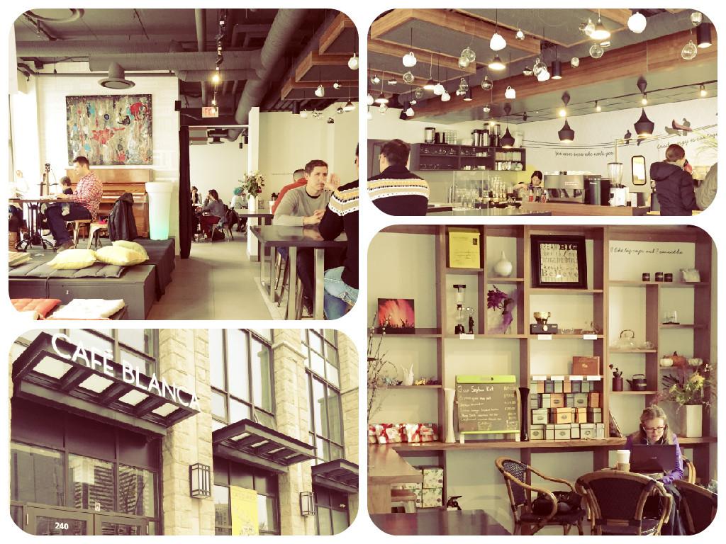 Visiting Café Blanca in downtown Calgary.