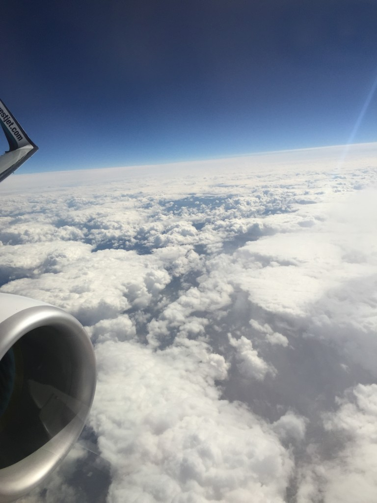 Flying high in the sky and above the clouds. En route to Las Vegas!
