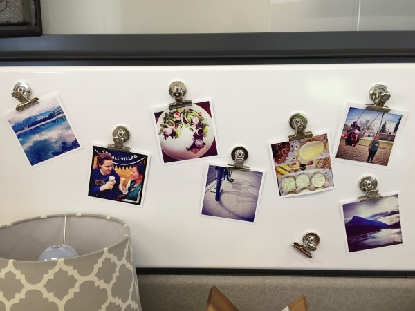 Photos on magnetic whiteboard