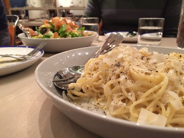 A rich and creamy spaghetti is just one of the tasty dishes at Ten Foot Henry.