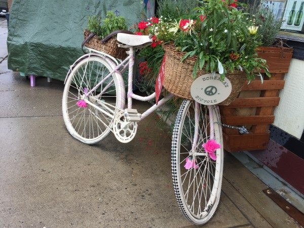 The cute Bohemia bike in front of the store.
