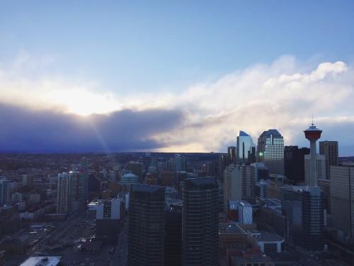 Cloudy Calgary Guardian Towers