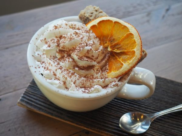 Orange flavoured hot chocolate at Rosso Coffee Roasters
