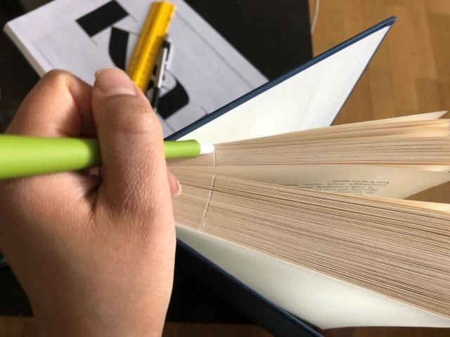Cutting notch into book