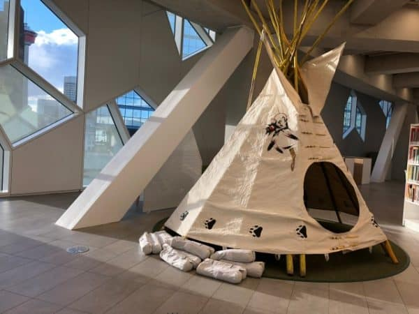 Aboriginal tipi sits on the 4th floor.