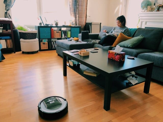 Robot vacuum cleaning living room