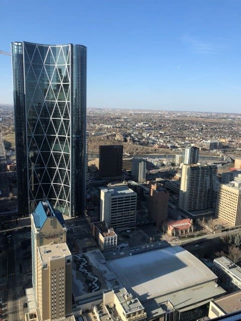 View of the Bow Tower on the north side of the Calgary Tower