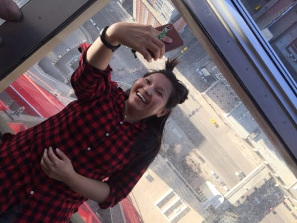 A different kind of selfie at the Calgary Tower