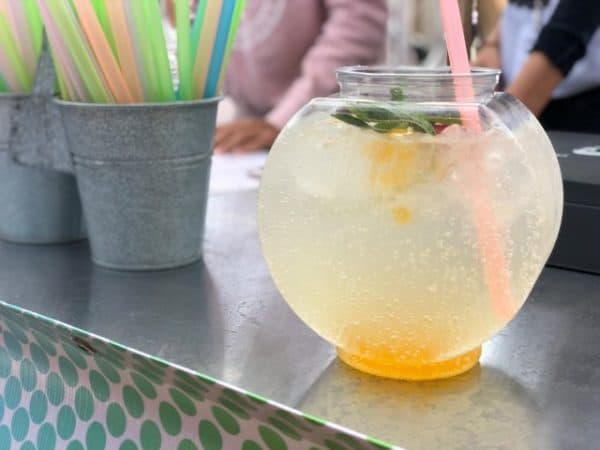 Stampede foods include fish bowl bubble tea beverage