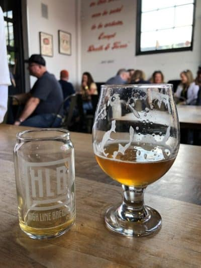 Beer glasses at Pedal Pub bike tour