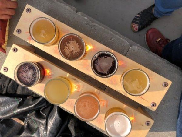 Beer samples at Ol'Beautiful Brewery