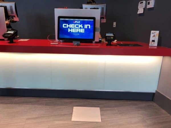 Check in counter at iFLY Calgary