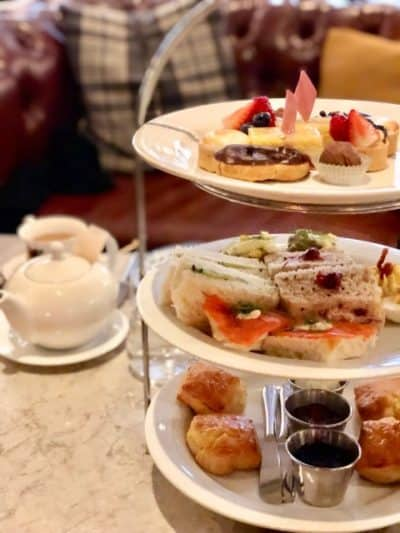 Tray of afternoon tea food at Hawthorn Dining Room