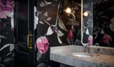 Floral wallpaper in cool Calgary bathroom