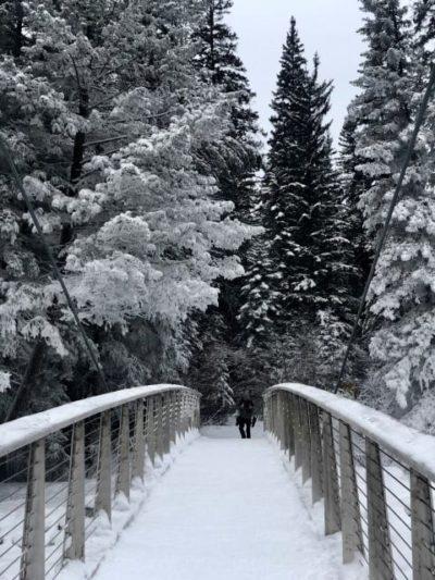 Crossing Fifth Bridge at Maligne Canyon Ice Walk