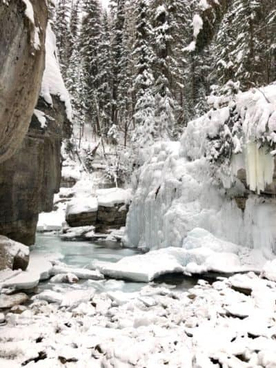 Inside the Maligne Canyon Ice Walk.