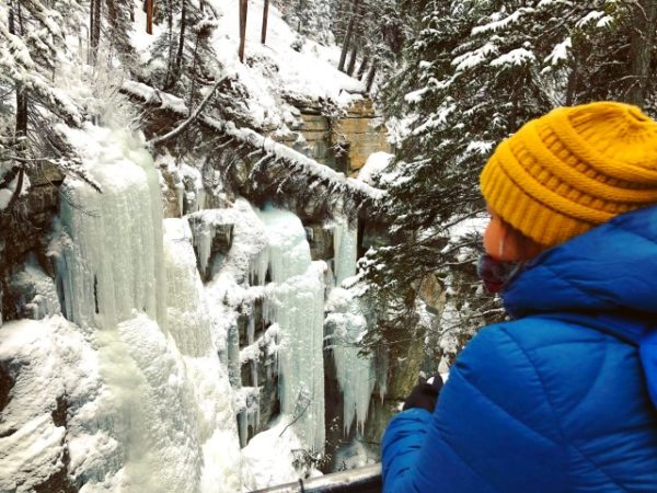Enjoying view at Maligne Canyon Ice Walk tour.