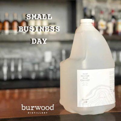 Burwood Distillery hand sanitizer jug