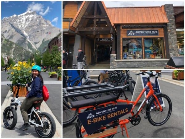 Bike rentals at SkiBig3 Adventure Hub on Banff Avenue.