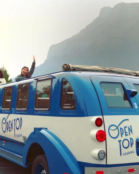 Open Top Touring stops at viewpoint in Banff