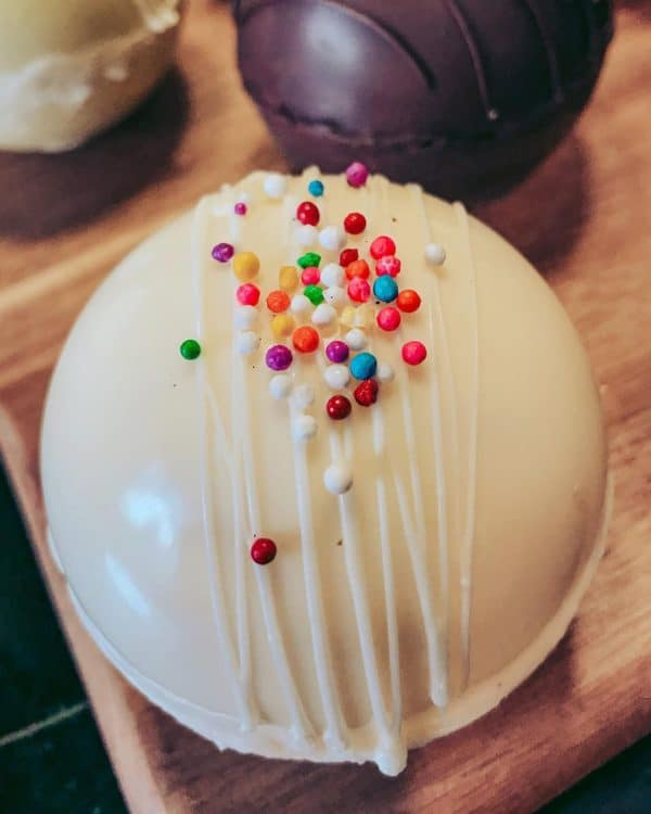 Hot chocolate bomb with sprinkles