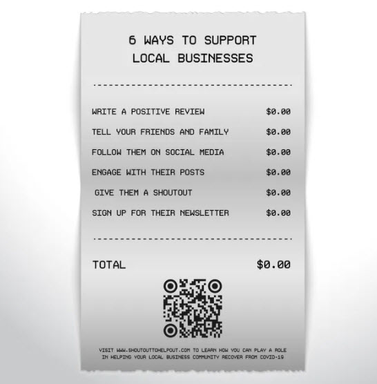 Ways to show support for local businesses by using social media.